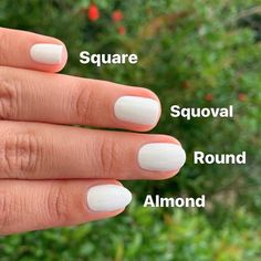 One style that's a crowd-pleaser if you're not sure, is squoval. Here's how to get squoval nails at home. Types Of Nails Shapes, Different Types Of Nails, Nail Shapes Squoval, Acrylic Nail Shapes, Oval Shaped Nails, Oval Nails, Uk Nails, Natural Looking Nails, Natural Nails