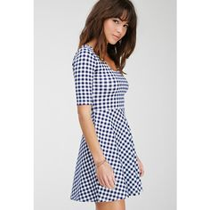 Forever 21 Gingham Print Skater Dress (15 AUD) ❤ liked on Polyvore