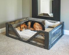 DIY Dog Beds - DIY Rustic Dog Bed - Projects and Ideas for Large, Medium and Small Dogs. Cute and Easy No Sew Crafts for Your Pets. Pallet, Crate, PVC and End Table Dog Bed Tutorials for dogs diy Rustic Dog Beds, Pallet Dog Beds, Pallet Couch, Wooden Dog Beds, Bed Frame Pallet, Rustic Dog Houses, Farmhouse Dog Beds, Pallet Bedframe, Pallet Headboards