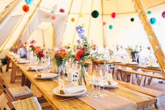 Bright Camp Festival Wedding with a Moon Gate Flower Arch & Literature Details Tipi Wedding, Marquee Wedding, Woodland Wedding, Our Wedding Day, Wedding Events, Destination Wedding, Weddings, Wedding Ideas, Wedding Table