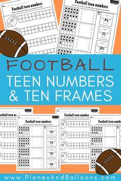 Fun teen numbers worksheets for kindergarten. Ten frames and teen numbers in one activity! Perfect for kindergarten math centers. #kindergarten #math
