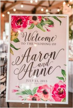 wedding welcome sign at barn reception