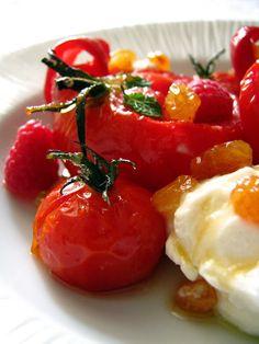 Dessert rouge tomates, poivrons et framboises, à l'huile d'olive sucrée - Dans la cuisine de Sophie: