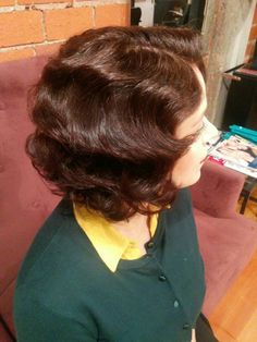 Middy haircut styled with pincurl wet set.