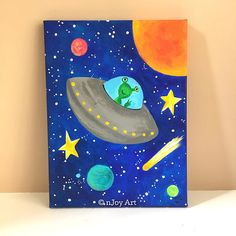 Flying Saucer space themed art for children's rooms 9x12