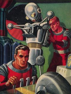 Love this scene by the great Ed Emshwiller. Great colours, and I love the intensity and focus on the spacemen's faces.