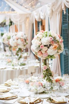 Tall wedding centerpiece on candelabra with white and pink flowers -Photo by Stephanie Kase Photography Tall Wedding Centerpieces, Flower Centerpieces, Wedding Decorations, Wedding Reception Themes, Wedding Vendors, Reception Ideas, Pink Flower Photos, Pink Flowers, Wedding Goals