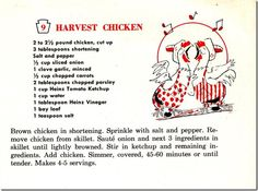Vintage 1957 Heinz recipe for Harvest Chicken, Chronically Vintage
