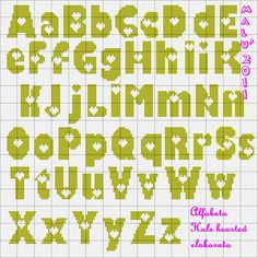 Abc Alphabet, Alphabet Design, Alphabet And Numbers, Cross Stitching, Cross Stitch Embroidery, Cross Stitch Letters, Tapestry Crochet, Loom Beading, Stitch Patterns