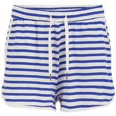 Vero Moda Women's Beaty Striped Shorts - Olympian Blue featuring polyvore, fashion, clothing, shorts, multi, vero moda, blue striped shorts, drawstring shorts, mid thigh shorts and striped shorts