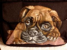 A new product! This is a Kavu Captains Clutch hand painted with a Boxer pup. More can be found at my etsy shop.