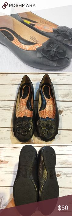 Born Black Leather Ballerina Shoes Born Black Leather Ballerina Shoes with decorative flower on toe. Worn once or twice. In excellent condition. Born Shoes Flats & Loafers