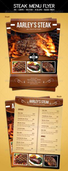 Steak Menu Flyer Template - Food Menus Print Templates Download here : http://graphicriver.net/item/steak-menu-flyer-template/5913640?s_rank=1275&ref=Al-fatih