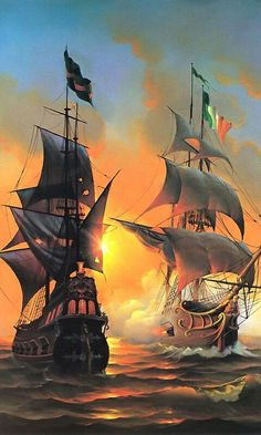 Pirates are no stranger to this tropical realm Pirate Art, Pirate Ships, Pirate Crafts, Old Sailing Ships, Ship Paintings, Ship Drawing, Ghost Ship, Nautical Art, Ship Art