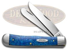 CASE XX Blue Sparkle Kirinite Synthetic Trapper Stainless Pocket Knife Knives
