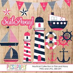 Nautical Digital Clipart in Navy and Pink