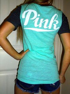 Pink by Victoria's Secret Mint Blue w Gray Short Sleeves V Neck T Shirt Tee XS   eBay