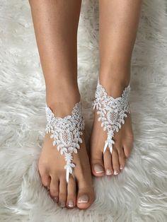 057fec118eb50 Gold ivory Beach wedding barefoot sandals by LaceBarefootSandals Satin  Wedding Shoes