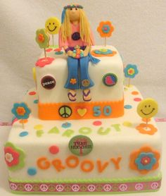 Hippie Cake love the girl to put on the guy with beetle Hippie Birthday Party, Hippie Party, Teen Birthday, Office Birthday, 19th Birthday, Birthday Ideas, Birthday Parties, Fancy Cakes, Cute Cakes