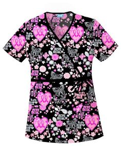 Cherokee HQ Mock Wrap Top. Let Your Heart Soar. Breast cancer awareness scrub top