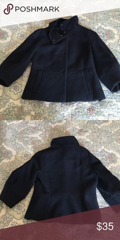 """Adorable Ann Taylor coat This navy Ann Taylor coat is so cute and so flattering. Shorter length (22""""), nips in at waist with bubble sleeve (3/4 length) and funnel collar. It is just so great on!! No signs of wear. Ann Taylor Jackets & Coats"""