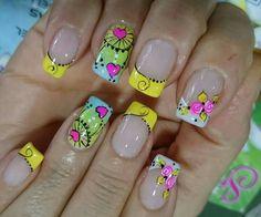 Uñas Cute Nail Art, Cute Nails, Flower Nails, Gorgeous Nails, French Nails, Pedicure, Nail Art Designs, Beauty, Triangles