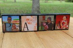 Fathers Day Gift for Papa Personalized Photo Blocks for Dad, Nana, Mimi, Pops Christmas, Birthday Gift idea -Set of 4 via Etsy