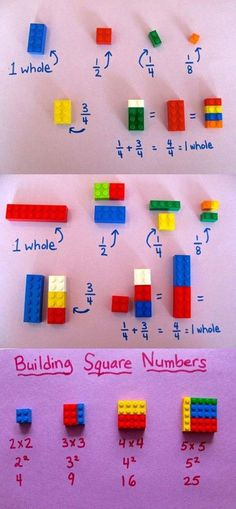 """Teach Basic Math Concepts Using LEGO Toys As Simple As a Game,""""LEGO"""" may be the most popular and valuable toy brand in the world. But Lego toys are not only for games, Lego can be used for a lot of interesting ed. Fun Crafts For Kids, Activities For Kids, Kids Fun, Lego Math, Maths, Lego Toys, Cool Science Experiments, Basic Math, Math Concepts"""