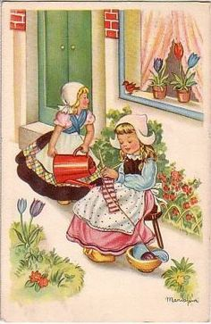 Dutch Girls Knitting.  I learned how to knit in 2nd grade in school in Holland.  It was part of our class schedule.