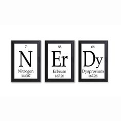 "Nerdy Periodic Table Framed 3 Piece Wall Plaque Set Each Plaque 5"""" x 7"""" - Geeky Home Decor"