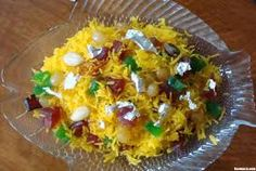 8)Zarda is a traditional South Asian dish made by boiling rice to which an orange food colouring is added, milk and sugar. It is flavoured with cardamoms, raisins, saffron or a variety of nuts. It is a popular dish served at weddings and is usually served after a meal.