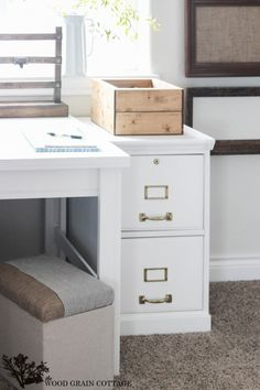 How To Paint a Filing Cabinet - The Wood Grain Cottage. And the trim is awesome!