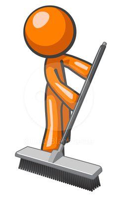 Orange man sweeping and pushing a broom.