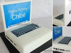 Apple macbook laptop computer cake with personal birthday message on the desktop wallpaper  http://www.cakescrazy.co.uk/details/laptop-computer-apple-macbook-cake-9845.html