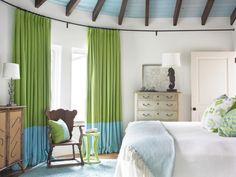 Azurrblau Grün-Gardinen ideen-beach style-schlafzimmer carter-Kay-Interiors