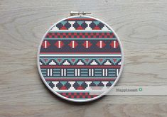 This cross stitch borders is inspired from Aztec designs. This borders is 74 stitches high. Use the borders to decorate your sewing projects or