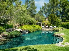 No star home is complete without a pool, but actor Jeff Bridges went one step further — his pool resembles a naturalized creek-fed lagoon.