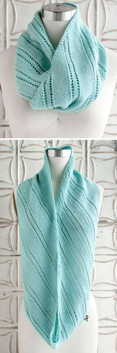 Free Knitting Pattern for McCallum Cowl - Infinity scarf knit in the bias with alternating eyelet stripes and stockinette sections of varying width. Fingering weight yarn. Designed by Lisa R. Myers for O-Wool.