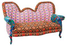 Sofa Puna Paisley Design Massivholz Samt Amazonde Kche