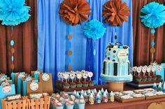 Polkadots themed dessert and candy buffet table