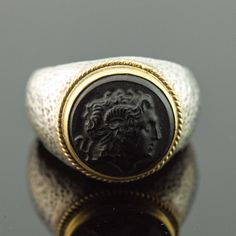Konstantino Sterling Silver 18K Men's Round Ring w Carved Black Stone 0316A | eBay