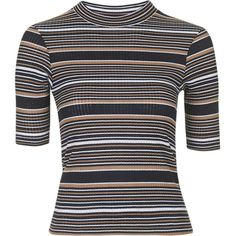 TOPSHOP Striped Funnel Neck Top ($28) ❤ liked on Polyvore featuring tops, shirts, cream, form fitting tops, funnel neck top, women tops, cream top and henley tops