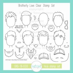 Brotherly Love Clear Stamp Set - Sweet 'n Sassy Stamps Brotherly Love, Drawing Reference Poses, How To Draw Hair, Bible Art, Copics, Painting For Kids, My Stamp, Clear Stamps, Doodle Art