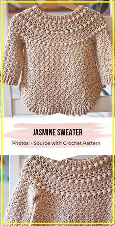 crochet clothes crochet Jasmine Sweater easy pattern - easy crochet Sweater Pattern for beginners via @ Crochet Girls, Crochet Baby Clothes, Crochet Woman, Crochet For Kids, Easy Crochet, Crochet Top, Crochet Bolero, Crochet Jacket, Crochet Cardigan
