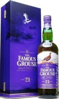 The Famous Grouse 21 Year Old Blended Malt Scotch Whisky, Scotland label
