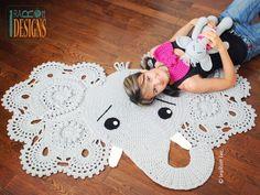 Elephant Animal Rug Nursery Mat Crochet Pattern for Babies Kids and Infants