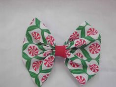 New Fabric Hair Bow with Alligator Clip Mint Candies Handmade NEW! #Handmade
