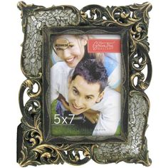 """5"""" x 7"""" Gold Crackle Glass Frame with Resin"""