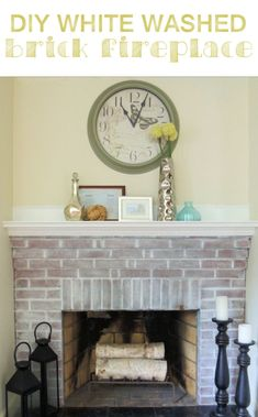 Might try to lighten up the room. diy white washed red brick fireplace from wife in progress. White Wash Brick Fireplace, Red Brick Fireplaces, Brick Fireplace Makeover, Fireplace Remodel, Diy Fireplace, Fireplace Whitewash, Distressed Fireplace, Brick Hearth, Slate Hearth