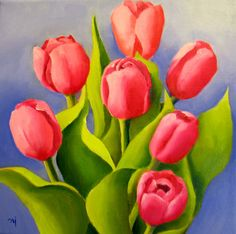 Nel's Everyday Painting: Potted Pink Tulips - SOLD